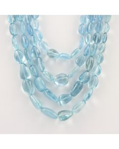 9 to 20 mm - 4 Lines - Aquamarine Gemstone Tumbled Beads - 808.33 carats (CSNKL1091)