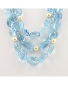 9.50 to 22 mm - 3 Lines - Aquamarine Gemstone Tumbled Beads - 870.50 carats (CSNKL1092)