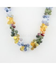 7 to 11.70 mm - 1 Line - Multi-Sapphire Drop Necklace - 328.42 carats (MSFD1019)