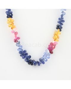 5 to 6.20 mm - 1 Line - Multi-Sapphire Drop Necklace - 163.00 carats (MSFD1027)