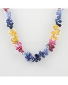 6.50 to 8 mm - 1 Line - Multi-Sapphire Drop Necklace - 225.50 carats (MSFD1029)