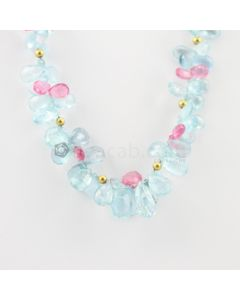 7 to 14 mm - 1 Line - Aquamarine and Tourmaline Drop Necklace - 263.96 carats (CSNKL1093)