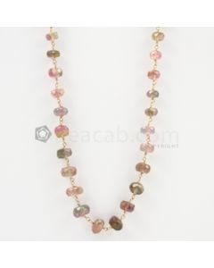 3.50 to 5 mm - Watermelon (Bi-Color) Tourmaline Faceted Necklace - 40.39 carats (GWWCS1123)