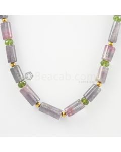 13 to 23 mm - Medium Purple Kunzite Tube Necklace - 247.00 carats (CSNKL1149)