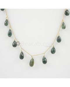 6.30 to 11 mm - Dark Green Green Sapphire Drop Necklace - 44.42 carats (GDNKL1033)