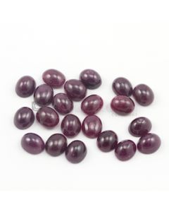 11 x 9 mm - Dark Red Oval Ruby Cabochons - 21 pieces - 115.73 carats (RuCab1035)