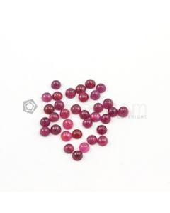 4.40 to 4.60 mm - Medium Red Round Ruby Cabochons - 34 pieces - 16.11 carats (RuCab1064)