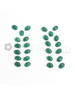 7 x 5 mm - Dark Green Oval Emerald Cabochon - 36 pieces - 20.33 carats (EmCab1053)