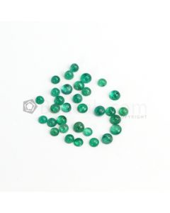 4.80 to 6 mm - Medium Green Round Emerald Cabochon - 32 pieces - 20.82 carats (EmCab1089)