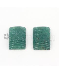 23 x 15 mm - Dark Green Emerald Carving - 2 pieces - 44.65 carats (EmCar1002)