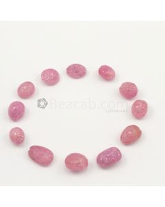 15 x 10 mm to 11 x 8.50 mm - Medium Pink Unheated Pink Sapphire Carving - 12 pieces - 91.93 carats (PnSCar1010)