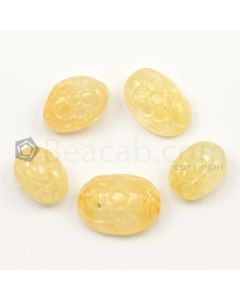 22 x 16 mm to 17 x 12 mm - Medium Yellow Unheated Yellow Sapphire Carving - 5 pieces - 116.00 carats (YSCar1003)
