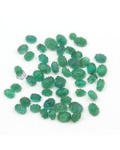 6 x 4 mm to 8 x 6 mm - Medium Green Emerald Carving - 50 pieces - 32.75 carats (EmCar1016)