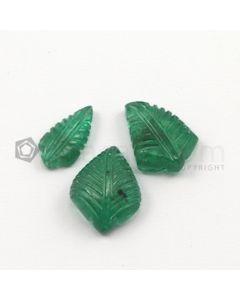 13.50 x 7 mm, 15.50 x 11.50 mm - Medium Green Emerald Carving - 3 pieces - 14.09 carats (EmCar1024)