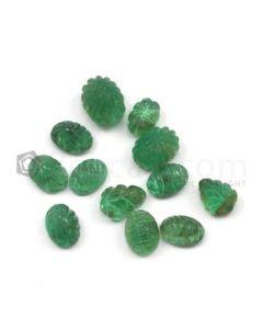 6.50 x 4.50 mm to 8.50 x 6 mm - Medium Green Emerald Carving - 12 pieces - 11.08 carats (EmCar1032)
