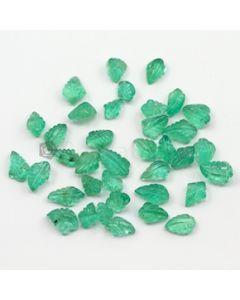 8 x 5 mm to 11.50 x 6.50 mm - Medium Green Emerald Carving - 37 pieces - 38.08 carats (EmCar1049)