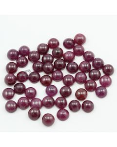 8 mm - Dark Red Ruby Round Shape Cabochons - 50 pieces - 137.28 carats (RuCab1101)