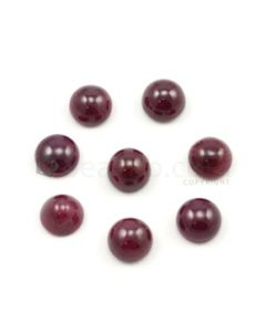 10 to 11 mm - Medium Red Ruby Round Shape Cabochons - 8 pieces - 49.37 carats (RuCab1106)