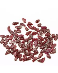 8 x 5 mm to 14 x 6 mm - Dark Red Ruby Leaf Shape Carving - 86 piece - 143.86 carats (RCar1022)