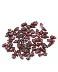 9 x 6.50 mm to 18.50 x 7 mm - Dark Red Ruby Leaf Shape Carving - 68 piece - 146.63 carats (RCar1026)