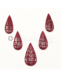 24 x 10 mm to 30 x 15 mm - Medium Red Ruby Pear Shape Carving - 5 piece - 39.65 carats (RCar1030)