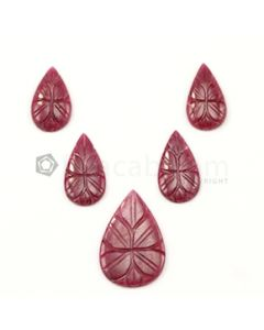 20 x 11 mm to 28 x 18 mm - Medium Red Ruby Pear Shape Carving - 5 piece - 34.95 carats (RCar1031)