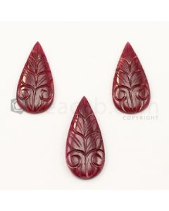 28 x 15 mm to 30 x 15 mm - Medium Red Ruby Pear Shape Carving - 3 piece - 36.80 carats (RCar1028)