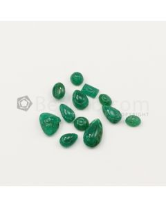 7 x 5 mm to 14.50 x 8.30 mm - Dark Green Emerald Carving - 12 pieces - 19.29 carats (EmCar1065)