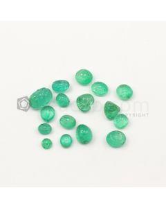 6 x 5 mm to 11.70 x 7.80 mm - Medium Green Emerald Carving - 16 pieces - 24.41 carats (EmCar1066)