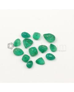 8.40 x 6 mm to 13.50 x 9 mm - Medium Green Emerald Carving - 13 pieces - 30.26 carats (EmCar1075)