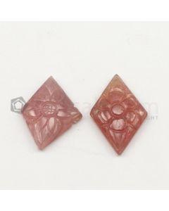 27 x 15 mm to 28 x 15 mm - Dark Tones Multi-Sapphire Diamond Shape Carving - 2 pieces - 20.95 carats (MSCar1022)