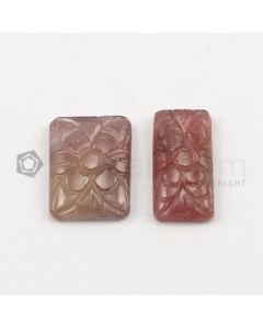 20 x 10 mm to 20 x 15 mm - Dark Tones Multi-Sapphire Rectangle Shape Carving - 2 pieces - 27.18 carats (MSCar1023)