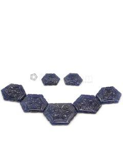 16.50 x 11.70 mm to 27 x 20 mm - Dark Blue Sapphire Hexagon Shape - 7 Pieces - 95.14 carats (SCar1081)