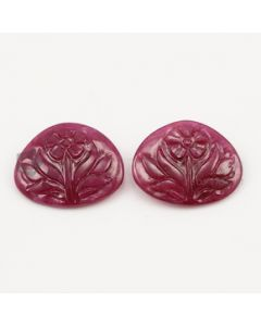 24.50 x 21 mm - Medium Red Unheated Ruby Flower Shape - 2 Pieces - 44.34 carats (RCar1036)
