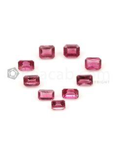 5.10 x 3.60 mm to 6 x 5.10 mm - Medium Pink Tourmaline Emerald Cut - 9 Pieces - 5.92 carats (ToCS1108)