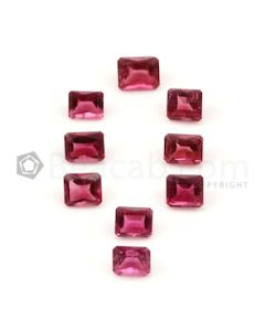 6.20 x 5.20 mm to 7 x 5.20 mm - Dark Pink Tourmaline Emerald Cut - 9 Pieces - 8.96 carats (ToCS1112)