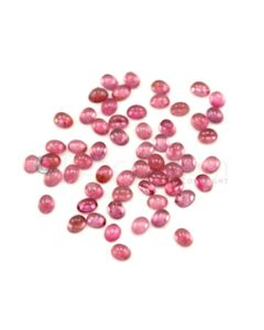 5 x 3 mm to 5.50 x 4.30 mm - Medium Pink Tourmaline Oval Cabochons - 57 Pieces - 23.61 carats (ToCab1018)