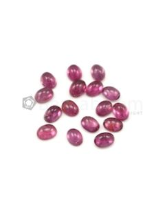 7.70 x 6.10 mm to 8 x 6 mm - Dark Pink Tourmaline Oval Cabochons - 16 Pieces - 23.34 carats (ToCab1022)