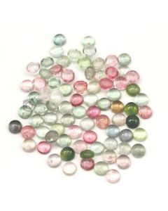 7 mm - Light Tones Tourmaline Round Cabochons - 80 Pieces - 118.00 carats (ToCab1096)