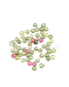 5.50 x 5.50 mm to 6.30 x 6.10 mm - Dark Tones Multi-Sapphire Pear Rose Cut Gemstones - 58 Pieces - 40.50 carats (MSRC1020)