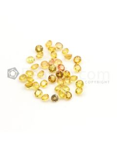 4 mm - Medium Yellow Multi-Sapphire Round Cut Stones - 39 Pieces - 13.62 carats (MSCS1018)