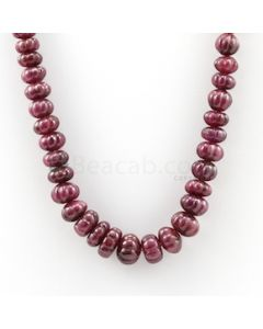 6 mm to 12 mm - Dark Red Carved Ruby - 1 Line - 391.00 carats (RCarB1017)