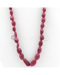 10 x 6 mm to 18 x 13 mm - Medium Red Carved Ruby - 1 Line - 346.70 carats (RCarB1020)