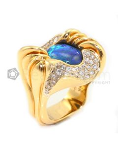 Ann Garrett, Designer, 18kt Yellow Gold, Opal and Diamond Lady's Ring - 31.20 grams - EST1026