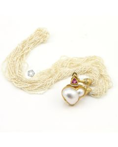 Yellow Gold and Seed Pearl Lady's Necklace - 24.50 grams - EST1059