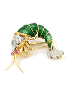 "18kt yellow Gold, Diamond, Ruby and Enamel Shrimp Brooch, L.2"" - 22.60 grams - EST1125"