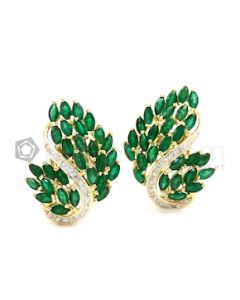 14kt Yellow Gold, Emerald and Diamond Lady's Earrings, Pair - 13.10 grams - EST1137