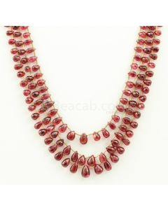 4.50 to 9.00 mm - Medium Purple-Red Spinel Drops Beads - 3 Lines - 163.64 carats - SPNDR1001