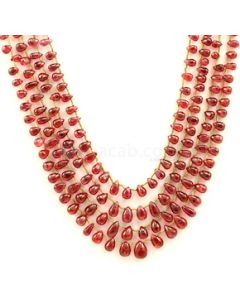 5.00 to 9.00 mm - Medium Purple-Red Spinel Drops Beads - 4 Lines - 224.22 carats - SPNDR1002