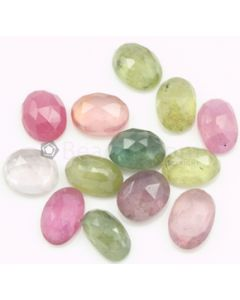 8.60 x 5.60 to 9.00 x 6.20 mm - Medium Tones Multi-Sapphire Oval Rose Cuts - 13 Pieces - 24.00 carats - MSRC1061